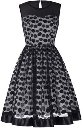 PrettyWorld Vintage Dress 1950s Retro Vintage A-Line Swing Dress Polka Dots for Women Juniors Size M CL464-1