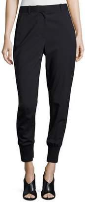 3.1 Phillip Lim Lightweight Stretch Wool Track Pants, Black $425 thestylecure.com