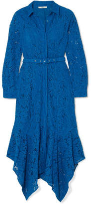 Ganni Belted Asymmetric Corded Lace Dress - Blue