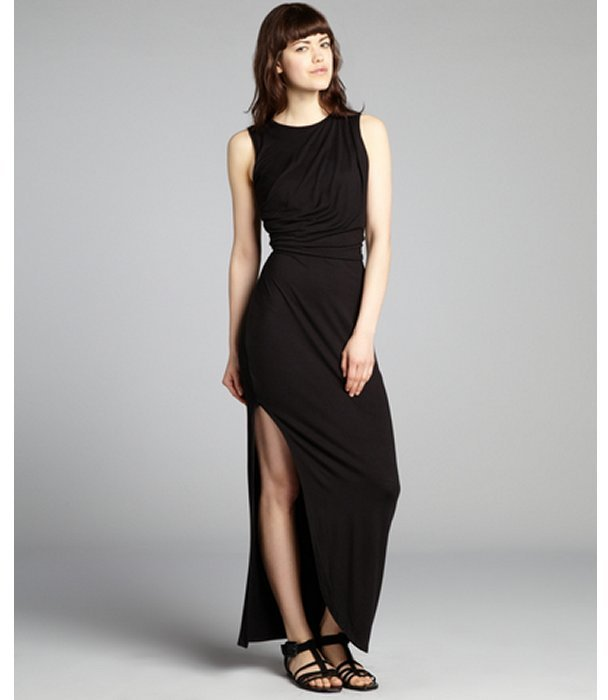 Wyatt black jersey draped side slit maxi dress