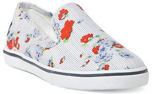 Lauren Ralph Lauren Striped and Floral Slip-On Sneakers
