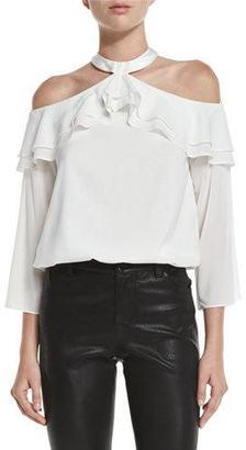Alice + Olivia Layla Cold-Shoulder Ruffle Blouson Top, Cream $295 thestylecure.com