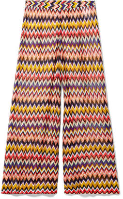 Missoni Mare Cropped Crochet-knit Wide-leg Pants - Red