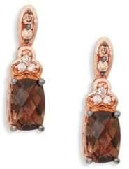 "LeVian Chocolate Quartz® and Chocolate & Vanilla Diamondsâ""¢ 14K Strawberry Gold® Earrings"
