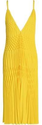 Haider Ackermann Smocked Crepe Midi Dress