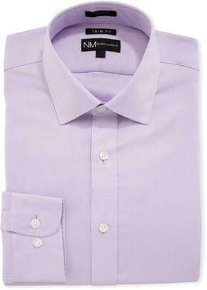 Neiman Marcus Men's Trim-Fit Regular-Finish Dobby Texture Sport Shirt, Lavender