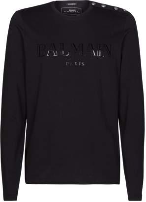 Balmain Button Shoulder Logo T-Shirt
