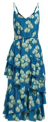 Borgo de Nor Coco Orchid And Leopard Print Crepe Midi Dress - Womens - Blue Print