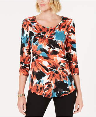 JM Collection Petite Printed Shirttail-Hem Top