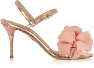 Charlotte Olympia Reia Rose Gold Metallic Leather and Pink Organza Heel Sandals