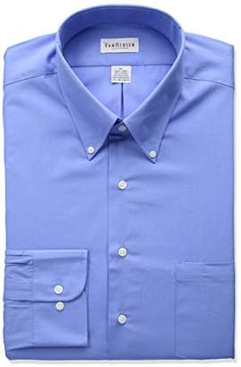 Van Heusen Men's Dress Shirts Regular Fit Silky Poplin Solid