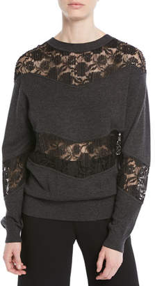 See by Chloe Crewneck Pullover Sweatshirt w/ Lace Inserts
