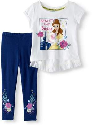"Beauty and the Beast Little Girls' 4-6X Belle ""Beauty and Brains"" Ruffle Tee and Legging 2-Piece Outfit Set"