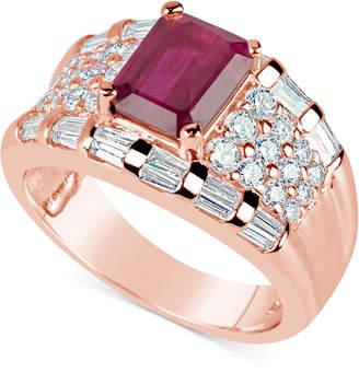 Macy's Ruby (1-3/4 ct. t.w.) and Diamond (1-1/6 ct. t.w.) Ring in 14k Rose Gold