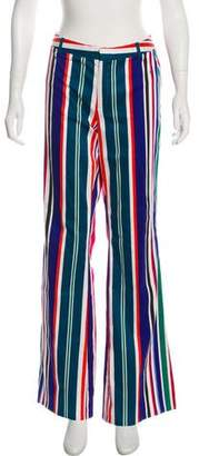 Pink Tartan Mid-Rise Wide-Leg Pants
