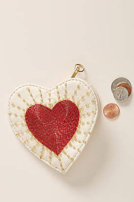 Anthropologie Embellished Heart Pouch