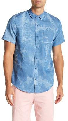 Public Opinion Short Sleeve Acid Marble Wash Regular Fit Woven Shirt
