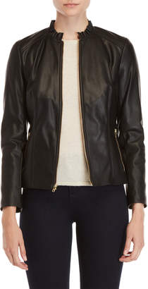 Cole Haan Faux Leather Ruffle Neck Jacket