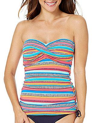 Anne Cole Triangle Stripe Twist Bandeau Tankini Top $66 thestylecure.com