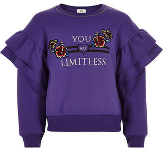 River Island Girls Purple 'Limitless' frill sweatshirt