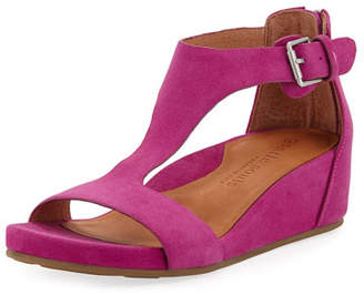 Gentle Souls Gisele Suede Demi-Wedge T-Strap Sandals