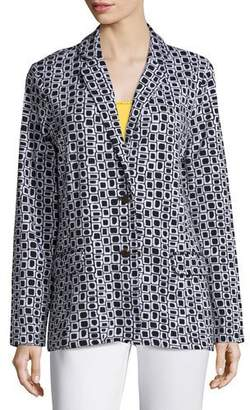 Joan Vass Geometric Jacquard Interlock Jacket, Petite