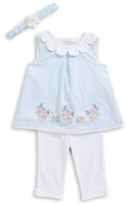 Little Me Little Girl's Petal Border Cotton Tunic, Leggings and Headband Set