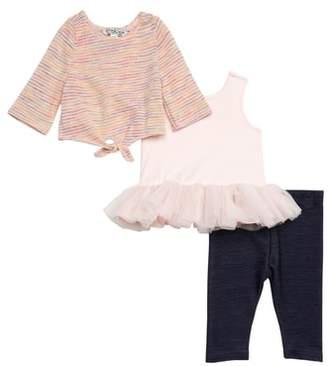 Pippa & Julie Tie-Front Sweater, Tutu Dress & Leggings Set