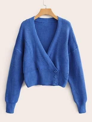 Shein Surplice Button Ribbed Knit Cardigan