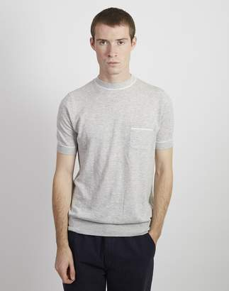 The Idle Man Knitted Retro Tipped T-shirt Grey
