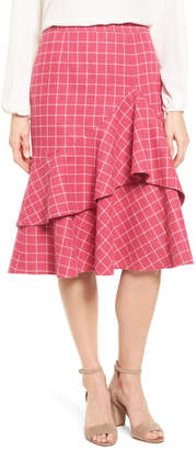 Halogen Windowpane Print Ruffle Skirt