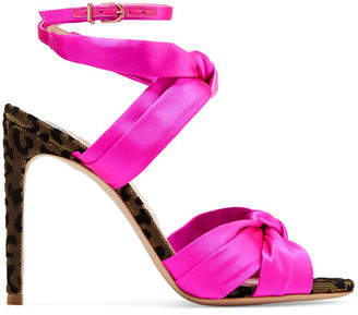 Sophia Webster Violette Velvet-trimmed Satin Sandals