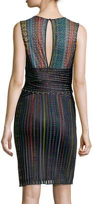 Just Cavalli Sleeveless Multi-Stripe Banded Sheath Dress