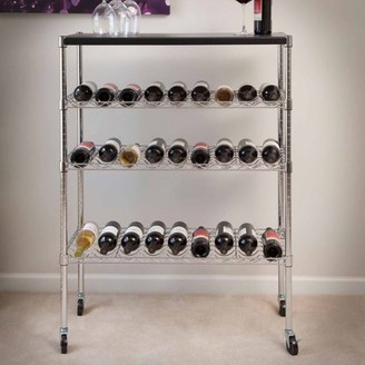 Lavish Home Rolling Chrome Wine Rack Cart Portable Bar