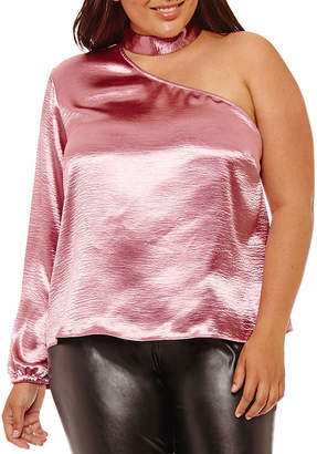 PROJECT RUNWAY Project Runway One Shoulder Choker Blouse - Plus