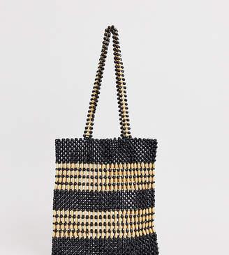 Accessorize mono beaded shopper bag