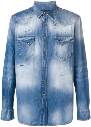 Frankie Morello distressed denim shirt