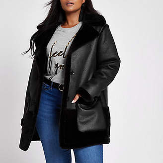 River Island Plus black faux fur reversible coat