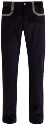 Missoni Straight Leg Cotton Corduroy Trousers - Mens - Navy