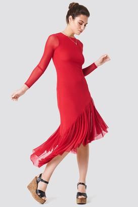 Na Kd Boho Long Sleeve Mesh Dress Dusty Pink Rose