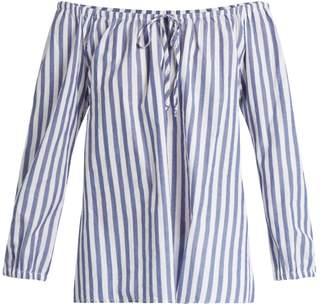 Jene off-shoulder striped cotton top