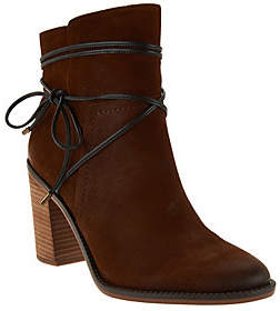Franco Sarto Block Heel Ankle Boots w/ StrapDetail