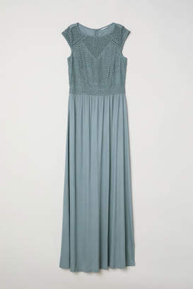 H&M Long Dress with Lace Bodice - Turquoise