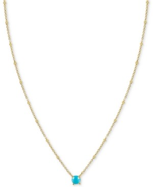 """Argentovivo Moonstone Solitaire 18"""" Pendant Necklace in Gold-Plated Sterling Silver (Also in Synthetic Turquoise)"""