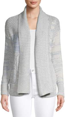 Chaps Petite Textured Patterned Cardigan