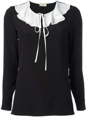 Saint Laurent monochrome ruffle collar blouse