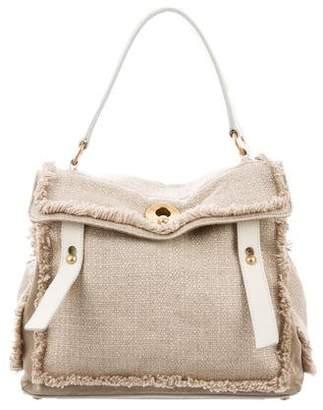 Saint Laurent Leather-Accented Straw Handbag