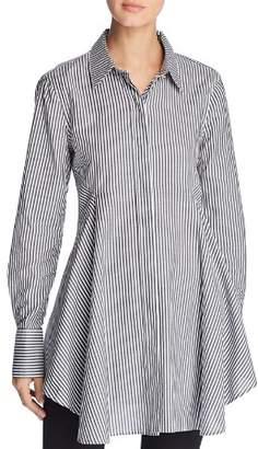 Donna Karan Striped Flare-Hem Tunic Top