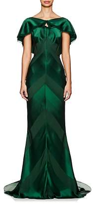 Zac Posen Women's Shadow-Striped Crepe Gown