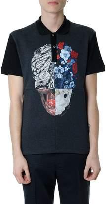 Alexander McQueen Black Cotton Multicolor Skull Print Polo Shirt